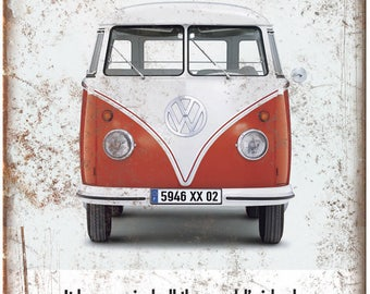 "1960 Volkswagen VW Bus Vintage Ad 10"" X 7"" Reproduction Metal Sign A62"