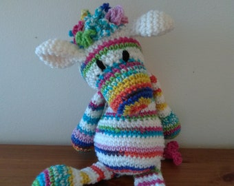 Zebra soft toy, cuddly plush, rainbow