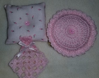 """Mini pillows and mini security blankie for your mini baby ooak 4"""" to 8"""" pink"""
