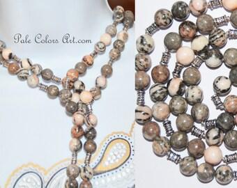 "60"" Lariat Necklace,Double Wrap Necklace,Pink Gray Jasper Necklace,Neutral,Gemstone,Boho,Bohemian,Beaded Lariat,Triple Wrap Lariat Necklace"