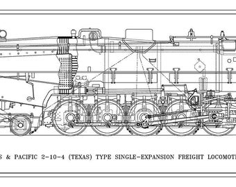 """Texas & Pacific """"Texas"""" 2-10-4 Type Locomotive Drawing - Side View"""
