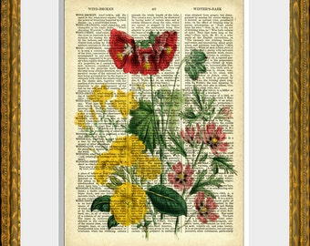 FLOWER BOUQUET 10 - Dictionary Page Art - an upcycled antique 1800's dictionary page with an antique flower illustration - wall art
