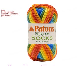SUNBURST STRIPES Patons Kroy Sock Yarn. A Self Patterning Super Fine Wool Blend Sock Yarn. This is a  in a rainbow of colors! 1.75oz each <