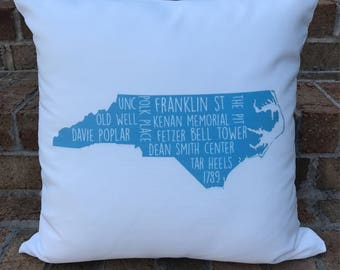 Personalized UNC Throw Pillow | UNC Tarheels | Tarheel Pillow | University of North Carolina | Gift For Students, Alumni, and Fans | UNC