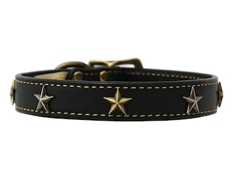 Black Leather Dog Collar with Star Studs in Nickel and Brass