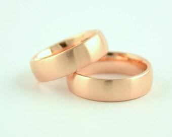 Wedding rings 18 kt rose gold, solid, wedding rings set, brilliant brown, engagement, wedding, golden wedding bands, stacking rings