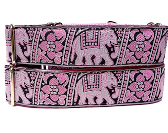 Martingale Dog Collar or tag collar PINK ELEPHANTS, Safety Collar, Greyhound Collar, Sighthound Collar, Adjustable, Training Collar