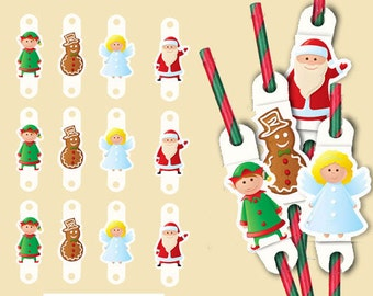 Christmas Straw Toppers, Digital Download, Elf, Angel, Santa, Gingerbread Snowman Toppers,  Party Straw Toppers, Digital Straw toppers, DIY