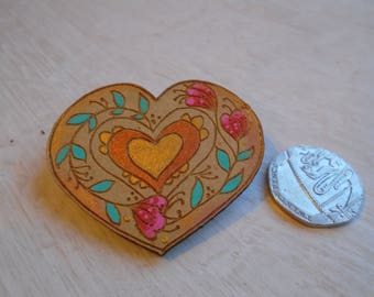 Hand Painted Heart Brooches