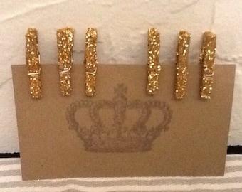 Glitter Clothes Pins-Mini Gold Glitter Close Pins-6 glittered clothes pins