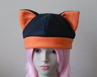 Fleece Cat Hat / BLACK + ORANGE Beanie Style Cap Cute Anime Neko Cosplay Cat Ears Kitty Ears Kawaii Japanese Fashion