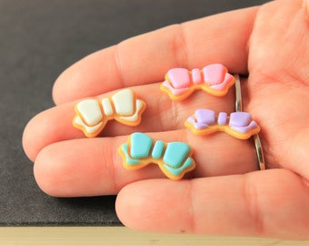 Pastel Cookie Bows - Resin Bow Cabochon Mix - Decoden - Resin Cabochon Bow 4pcs