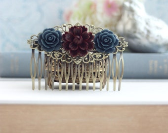 Burgundy Flower Comb, Burgundy Mum Comb, Masala, Maroon and Navy Blue Comb, Large Statement Hair Piece Winter Wedding Vintage Rustic Wedding