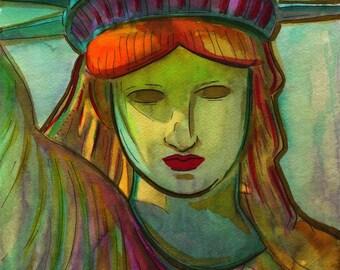 Ein Geschenk von Frankreich - Lady Liberty - Print aus original Aquarelle