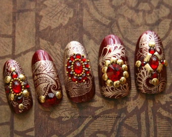 Red and Gold India Style Press On Nails | Indian Wedding Nails | Mehndi Henna Nails | Rajasthan Dreams Bejeweled Nails