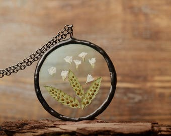 dried flower necklace, unique nature jewelry, summer pendant, gift for daughter, botanical jewelry, glass necklace, gift for women