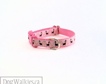 "Dachshund Love in Pink - Small Dog Collar - 3/4"" (19mm) Wide - Martingale or Quick Release - Choice of collar style and size"