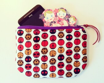 Cell Phone case many many mOre padded zipper Pouch with Ladybug