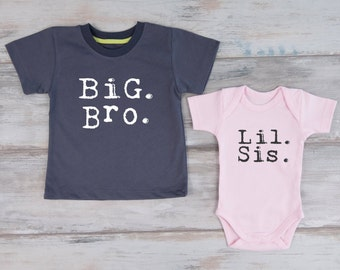 Big Brother Little Sister Set, Big Bro Shirt & Lil Sis Baby Bodysuit Set, Matching Sibling Shirts, Photo Props For Kids, Sibling Outfits