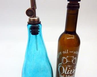 Lovely Hand Blown Oil and Vinegar Cruet ,Bottle,  Bottle Pourer  by Rebecca Zhukov