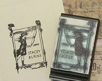 May Sale Personalized Ex Libris Archeress Rubber Stamp B12