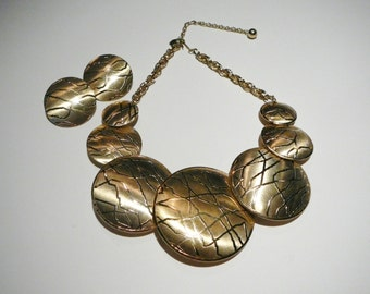 Vtg Massive Runway Large Necklace Earring set Round Mid Century