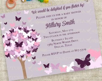 Baby Shower Invitation with Butterflies in Pink and Purple Personalized Custom Digital Printable File with Professional Printing - Cardtopia