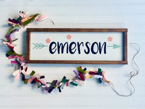 Personalized Name Sign . Floral Nursery .Baby Girl. Baby Name Sign . Boho  Tribal Arrow . Coral Mint. Woodland Arrow Name Sign . Boho Sign