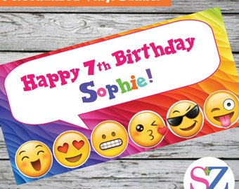 """18""""x30"""" Emoji Theme Personalized Party Banner   Smiley Face   Kissy Face   Emoji Party   Personalized Banner   Custom Banner"""