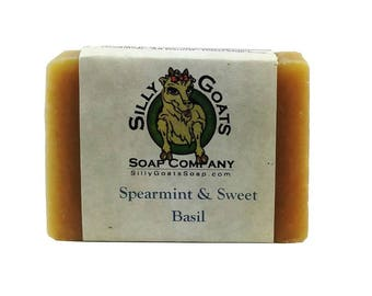 Spearmint & Sweet Basil Goat Milk Soap, Spearmint Soap, Mint Soap, Goat Milk Soap