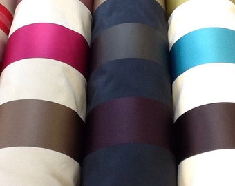 Ashley wilde karok stripe designer curtain fabric by the metre in plum/aubergine/aqua