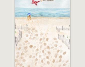 SALE!! Beach Thumbprint Guestbook, Wedding Thumbprint Guestbook, Beach Guestbook, Wedding Keepsake, Bridal Shower Guestbook, Wedding Gift
