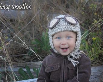 Crochet Hat Pattern: Aviator, Pilot Hat, 'Alistair the Aviator' with Crochet Goggles