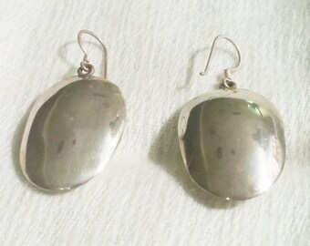 Luna - Large Silver Pendant Earrings