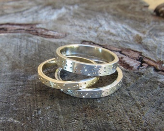 Silver Sparkle Ring, Silver Stardust Ring, 2.25mm, 3mm, 3.5mm and 4mm Wide