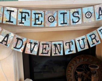 Life is an adventure banner/ travel themed party/travel decor/ travel inspirational quote /going away party/graduation/ travel birthday