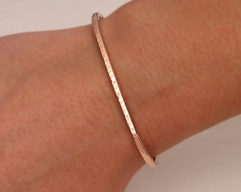 Hammered Cuff Bracelet, 14K Rose Gold Filled (350str.rgf)