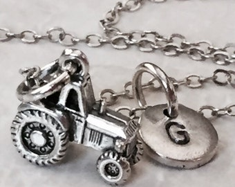 Tractor charm necklace, personalized necklace, farm necklace, farm tractor jewelry, personalized necklace, initial jewelry, farming jewelry