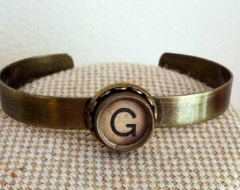 Personalised typewriter key cuff bangle / choose your initial / bronze tone metal monogram cuff