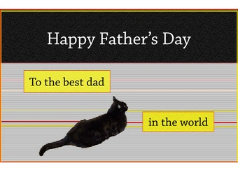 Father's Day Card, Cat Art, Black Cat Lovers, Blank Greeting Card, Handmade, For Him, For Men, Cat Lover