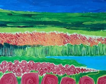 Wonderful Field. Original Acrylic Painting. Lotus Flower. Whimsical painting.
