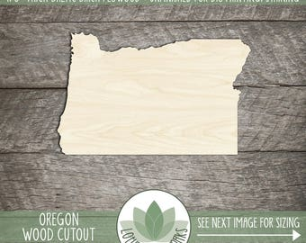 Wood Oregon State Laser Cut Shape, DIY Craft Supply, All 50 States Available, Many Size Options, Wood Oregon Cut Out, Blank Wood Shapes