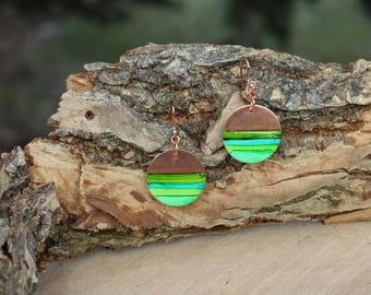 Lime Green and Cooper Hand Painted Earrings