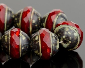 Saturn Beads - Saucer Beads - Czech Glass Beads - Red Opaline with Dark Picasso Finish - 10x12mm Beads - 5 or 10 Beads