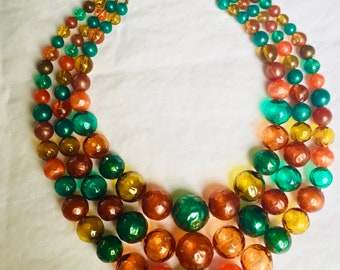 Eye-Popping Orange/Teal/Gold Vintage 60's Multistrand Necklace Unique Balloon-Like See-Thru Plastic Beads Multistrand Chunky