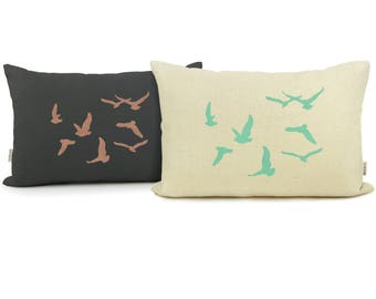 12x18 or 16x16 Personalized bird pillow case | Flock of birds cushion cover | Your choice of color, fabric and size | Modern home decor