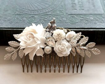 Wedding Hair Comb, White, Leaf, Rustic, Woodland, Bridal Headpiece, Hair Slide for Bride, Grecian, Vintage Style, Boho, Bridesmaid Gift