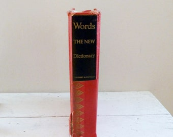 Words the new dictionary, reference book, study aid, teacher's gift, graduation gift, vintage dictionary, world war 2 era, inscription