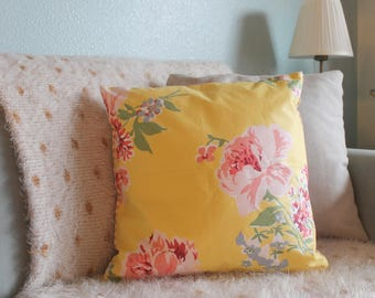Double Sided Cotton Throw Pillow ~ Yellow and Pink Floral Print / Stripes