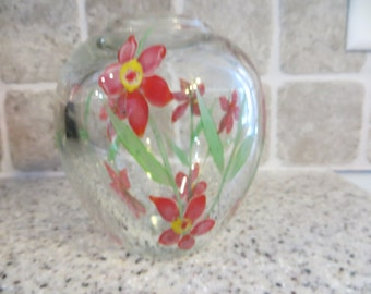 Paperweight Clear Glass Vase with Red Flowers